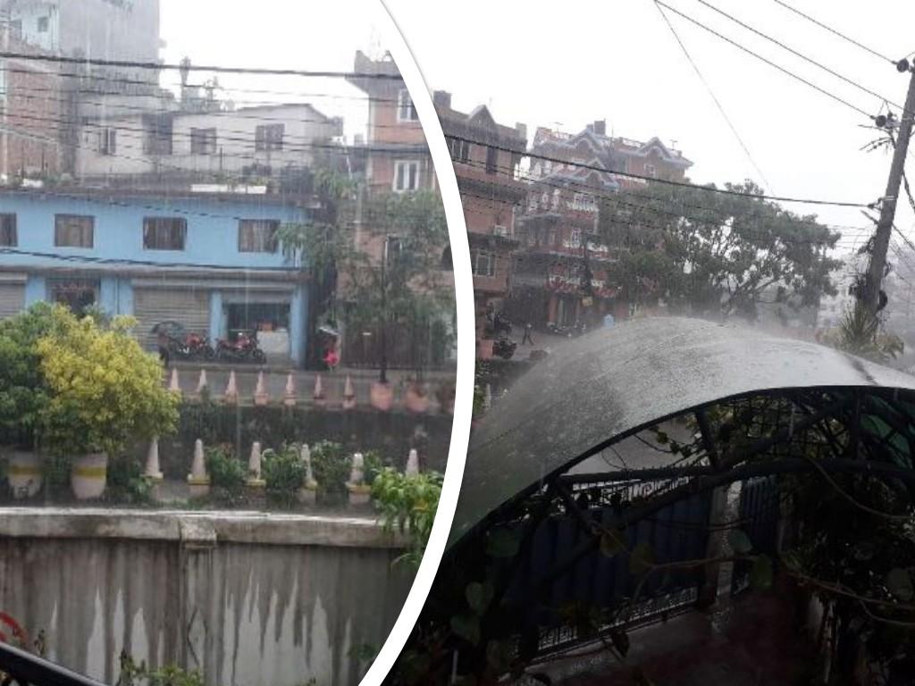 काठमाडौं, धादिङ, नुवाकोट, काभ्रेमा भूकम्प महसुस, काठमाडौंमा मुसलधारे वर्षा