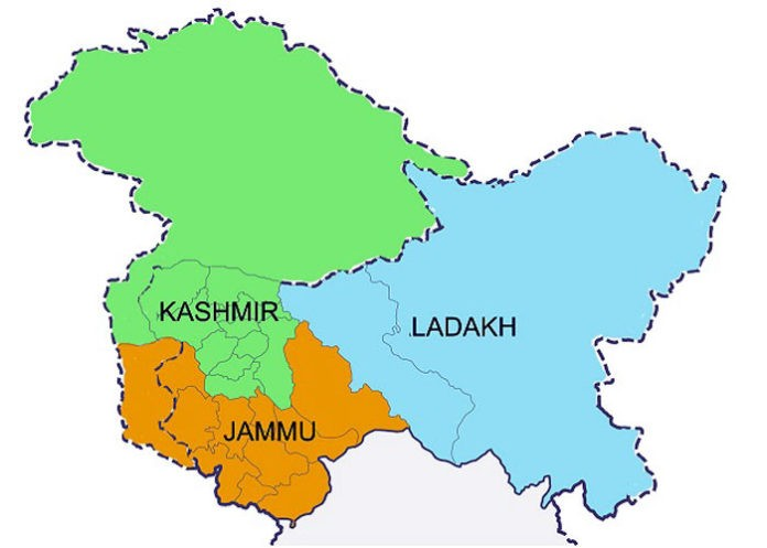 जम्मु-काश्मीरबाट लद्दाख अलग (धारा ३७० मा यस्तो छ)