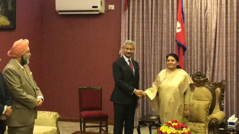 राष्ट्रपति भण्डारी र भारतीय विदेशमन्त्रीबीच भेटवार्ता