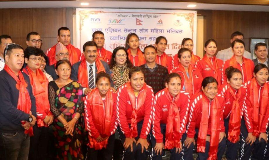 नेपाली महिला भलिबल टोलीको बिदाइ