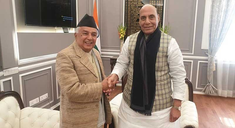 भारतका रक्षामन्त्री सिंह र कांग्रेस नेता पौडेलबीच भेटवार्ता