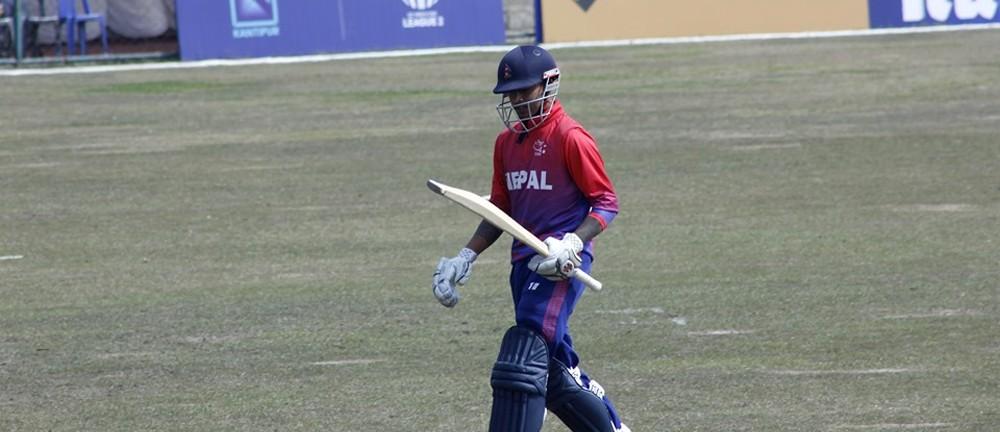 आइसीसी विश्वकप लिग दुई : अमेरिका विरुद्धको खेलमा नेपाल ब्याटिङ गर्दै
