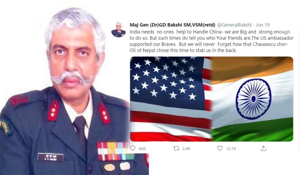 भारतका रिटायर्ड मेजर जनरल बख्शीले ओलीलाई 'चोर' भन्दै गरे अपमानजनक ट्वीट