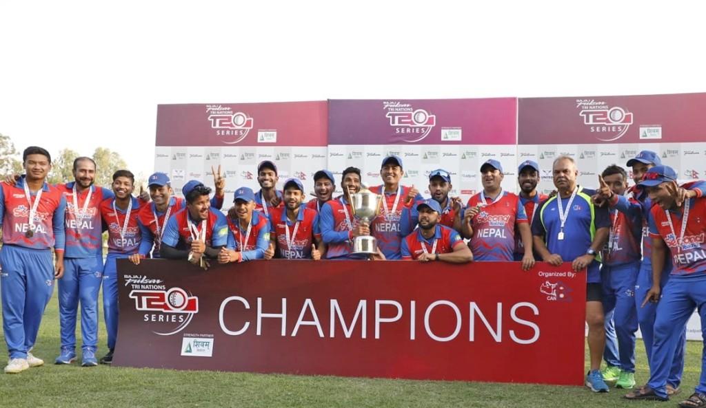 त्रिकोणात्मक टी–२० क्रिकेटकाे उपाधि नेपालले जित्यो